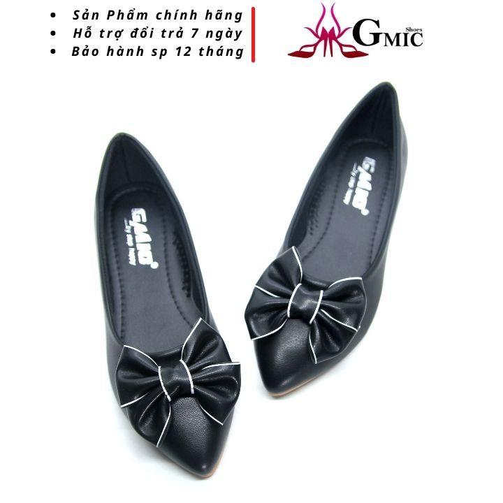 Giày búp bê nữ mũi nhọn cao cấp nơ viền  xinh đế bệt êm chân big size  GMIC NBB003
