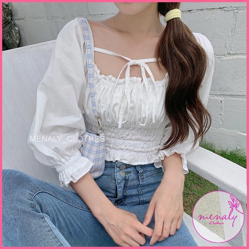 Mặc gì đẹp: Gợi cảm với Áo croptop nữ cá tính cổ vuông tay phồng AH012, mẫu áo mặc được 2 kiểu, dây áo dễ điều chỉnh kiểu dáng cực phá cách