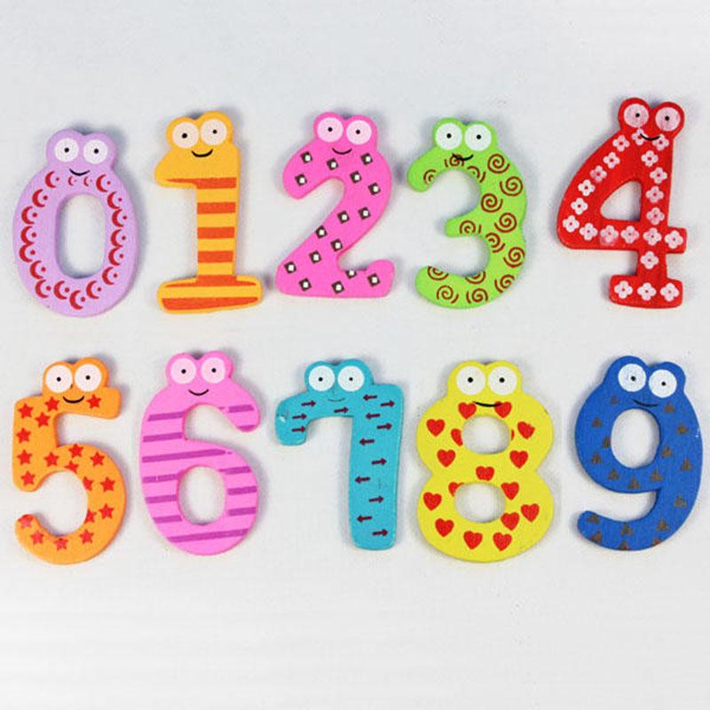 Cartoon 0-9 Wooden Magnetic Number Refrigerator Sticker Kid Child Math Xmas Gift