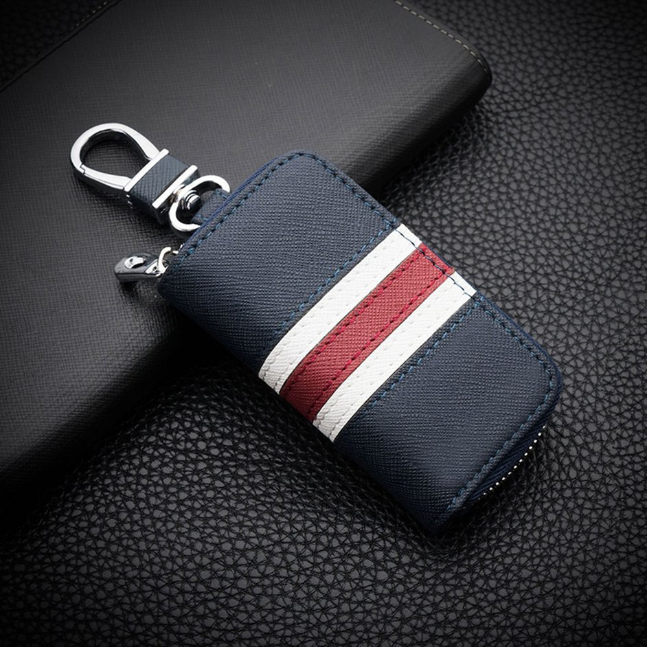 S+Leather Striped Zipper Bag Car Key Case Universal Personalized Customized Remote Control Case for Men and Women (Blue)