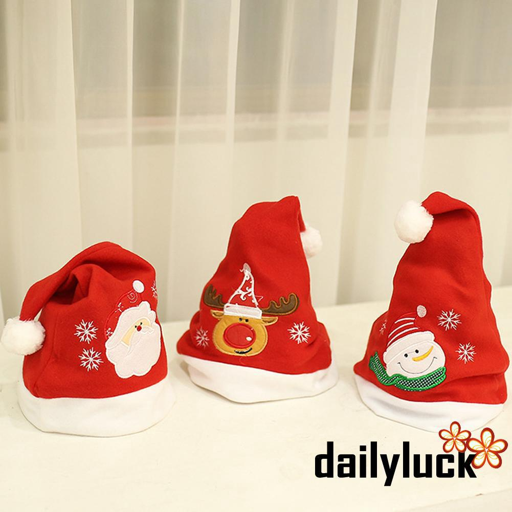 CUK-Adult Kid Baby Christmas Hat Santa Snowman Deer Elk Soft Plush Hat