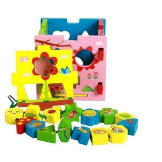 Đồ chơi hộp thả khối màu kèm xâu hạt cho bé