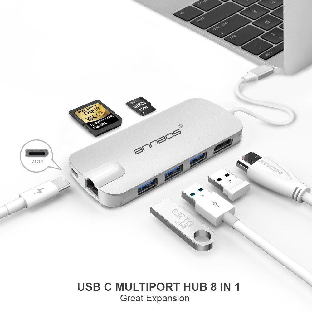USB-C Hub 8 trong 1 dùng cho Macbook – Silver Giá chỉ 1.650.000₫
