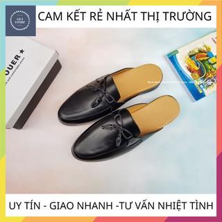 Giày sục nam phong cách trẻ trung, Sục nam cao cấp kết hợp nơ chất liệu da bò pu bền đẹp đế cao su đúc - Mã GEA26 thumbnail