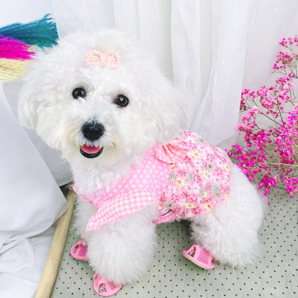 Áo Hoa Mùa Hè Công Chúa Có Nơ Vải Mỏng Mát Chó Mèo Hihapet.