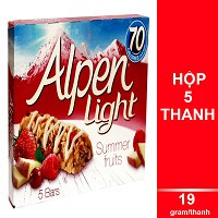 Ngũ Cốc Ăn Sáng Thanh Light Trái Cây Alpen (5 Thanh x 19g)