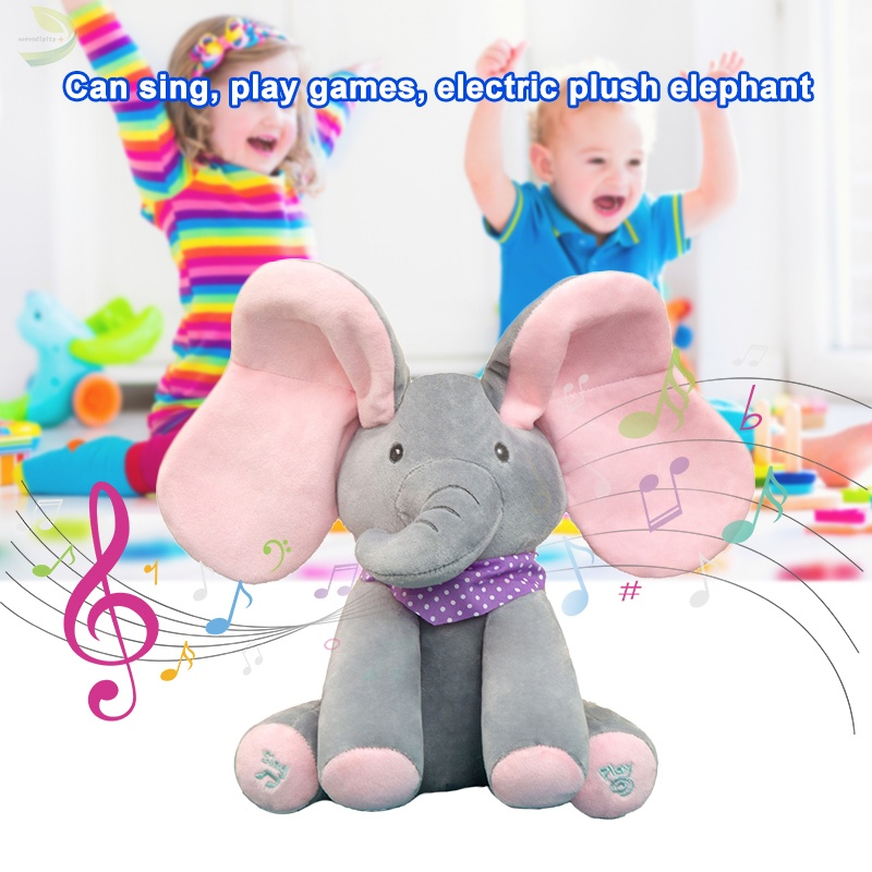 Peekaboo Elephant Toy Cover Your Eyes Sing and Play Games Electric Plush Toys With Moving Ears