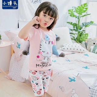 Đồ bộ cotton xuất hàn quần lửng cho bé gái 7-33kg