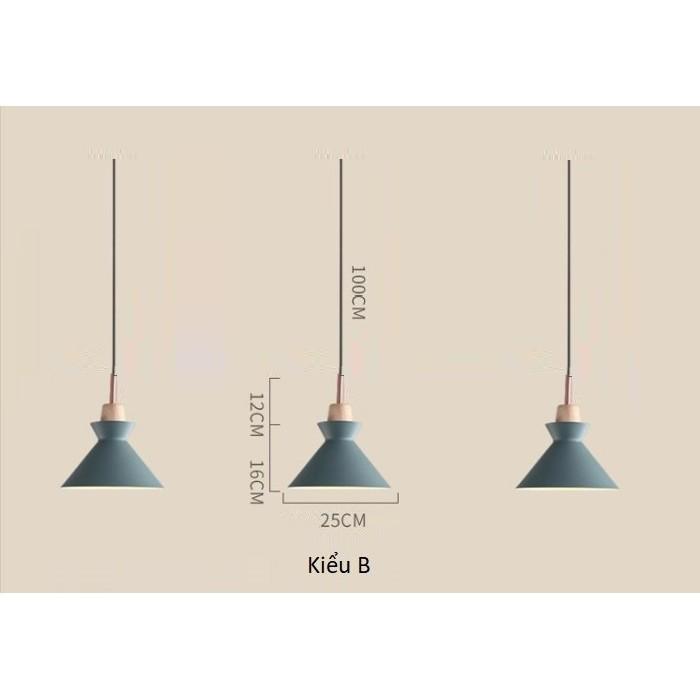 Đèn thả trần chao nhôm đuôi gỗ B, đèn thả trần trang trí TGBB