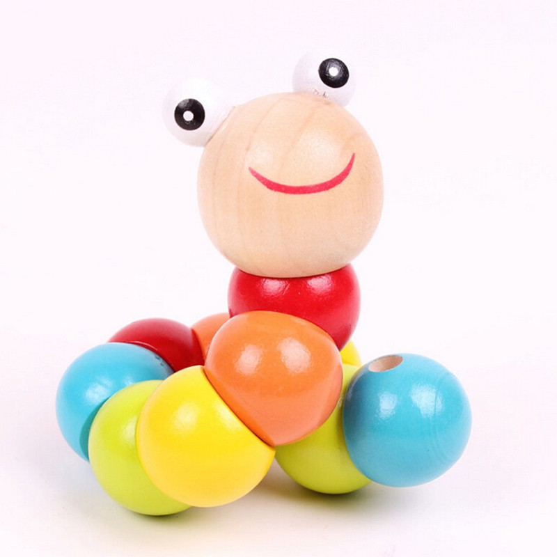 [@VN] DIY Baby Kids Twist Caterpillar Wooden Toy Infant Educational Developmental Gift