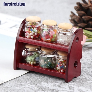 【FSTTTOP】1:12 Miniature Wooden Spice Rack Shelf Dollhouse Kitchen Accessories