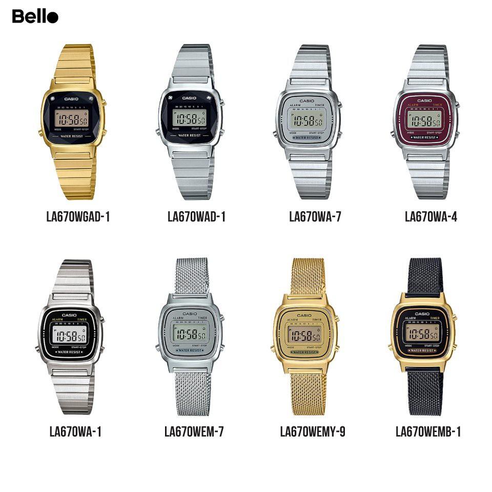 LA670WA Đồng hồ Casio nữ chính hãng dây kim loại bảo hành điện tử 1 năm Pin trọn đời
