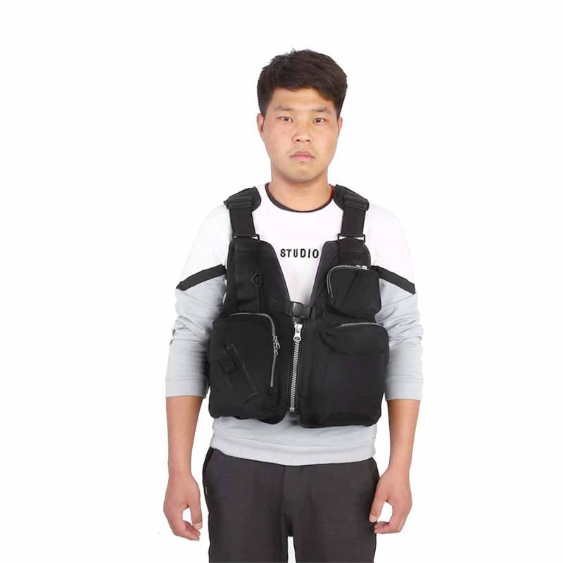 【houglamn】Outdoor Wearing Unisex Adults Fishing Aid Life Jacket Vest Lifesaving Black Waistcoat
