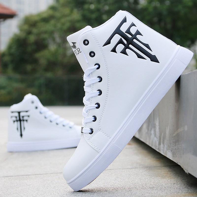 (Có 2 Màu) Giày cao cổ da nam Trắng in thánh giá phong cách