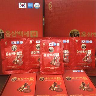Nước hồng sâm Linh Chi nhung hươu Hàn Quốc. Hộp 30 gói.sủ dụng ngay khi mở  ra.thích hợp làm quà biếu, bồi bổ sức khỏe giảm chỉ còn 570,000 đ