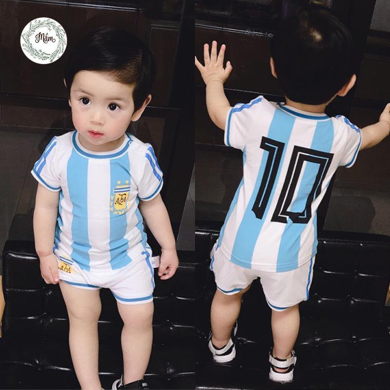 Áo bóng đá cộc tay cho bé Mầm Store Size từ 7 đến 28kg