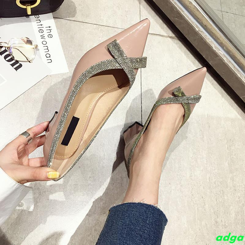 Single shoes female 2019 spring new fairy wind bow pointed shoes shallow mouth thick with soft bottom with gentle shoes