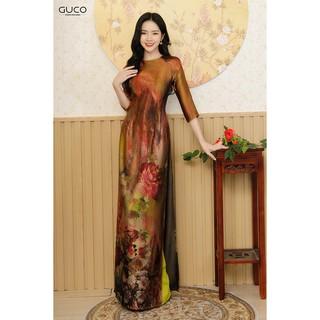 GUCO - Set Áo dài Truyền thống nữ họa tiết hoa đặc biệt AD107 thumbnail