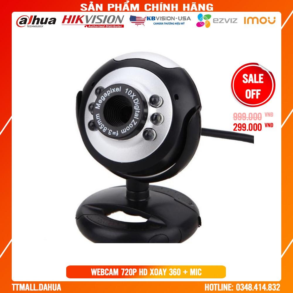 Webcam 720P HD siêu nét + xoay 360 độ kèm Micro đàm thoại dạy học trực tuyến