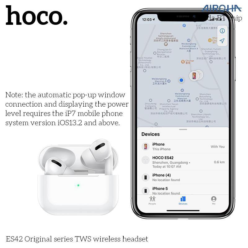 Tai nghe Bluetooth HOCO ES42 NEW 2020 BT5.0 - Pin 400mAh - Hỗ trợ sạc không dây - Tặng kèm case _ bảo hành 12 tháng
