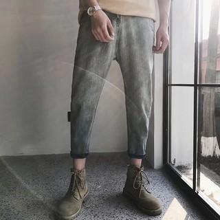 (quanaojeanquangchau).K201.Size: 27-34. Quần jeans nam xắn gấu màu xanh xám