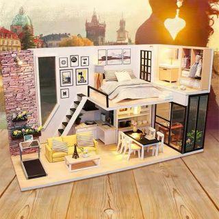 Mô hình nhà gỗ búp bê Dollhouse DIY – Kèm mica – M038 Give you happiness