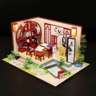 Mô hình nhà gỗ búp bê Dollhouse DIY – Kèm Mica – S921 Bamboo Nhà thư pháp