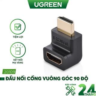 Đầu nối cổng HDMI male sang HDMI female vuông góc 90 độ - UGREEN 20109 - (màu đen)