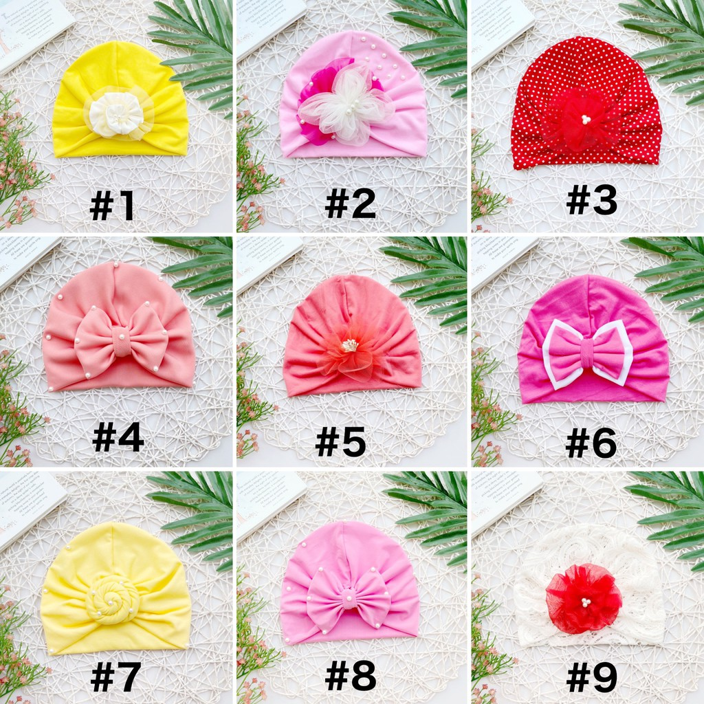 Nón Turban Nhiều Kiểu Nhiều Màu Cho Bé Gái
