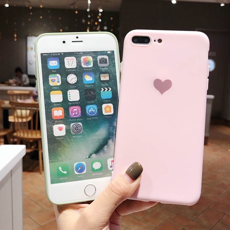 Ốp điện thoại mềm màu trơn nhám in hình trái tim xinh xắn cho Iphone 6/7/8/6s/6sp/7p/8p/X/XS/XR/XS MAX