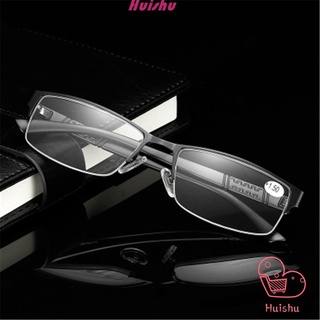💍HS💄 Men Eyeglasses Magnifying Vision Care Business Reading Glasses Flexible Portable Ultra Light Resin New Fashion Metal Titanium Alloy Eye wear +1.00~+4.0 Diopter/Multicolor