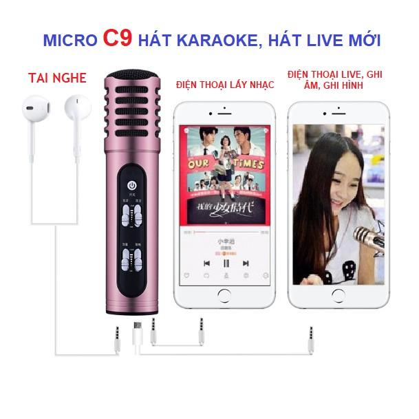 Míc Thu Âm Hát Karaoke Livestream C9 Không Cầm Sound Card Tặng Kèm Tai Nghe