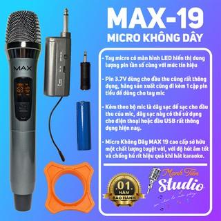 [SẢN PHẨM HOT] Micro không dây MAX19 dành cho karaoke gia đình,hát live stream,loa kéo âm thanh trung thực và dễ sử dụng