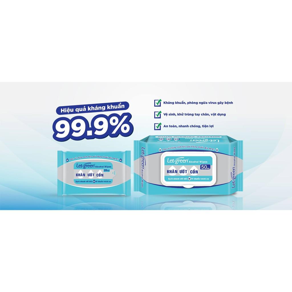 Khăn ướt cồn Let-green sạch vi khuẩn sạch vết bẩn 99%