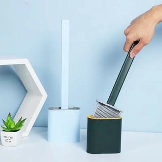 Chổi cọ Toilet cao cấp silocon có tay cầm dài đầu cọ thiết kế mềm mại kèm cốc tiện ích dễ sử dụng thumbnail