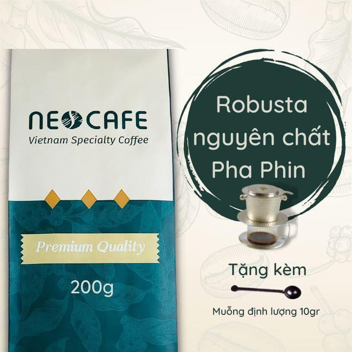 Cà phê Robusta NEOCAFE cafe rang xay cà phê nguyên chất 100% ngon loại cà phê phin gói 200g hạt cafe Cầu Đất pha