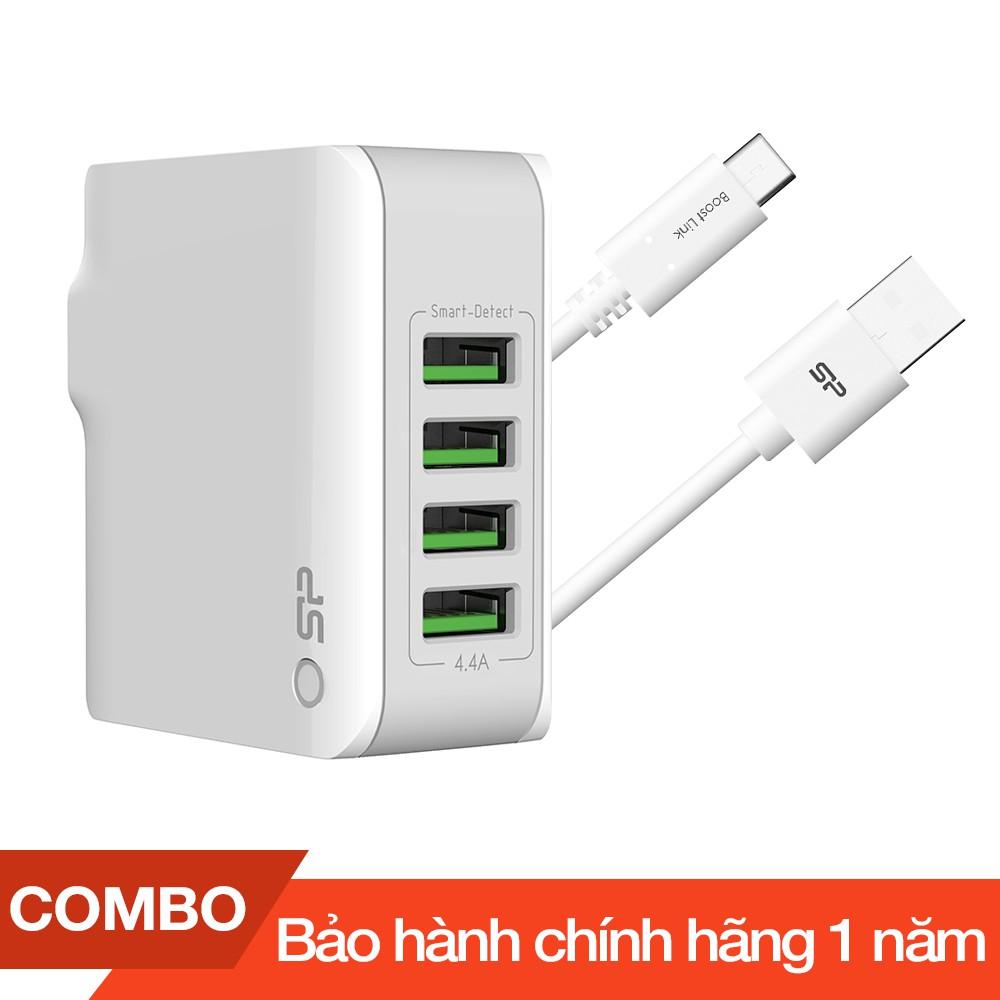 Combo Cốc sạc 4 cổng USB 4.4A max + Cáp sạc Type-C Silicon dài 1m - Hãng phân phối chính thức