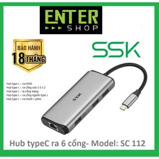 HUB chuyển đổi từ cổng type-c – kết nối ra 6 cổng – SC112 có tặng kèm túi bảo vệ