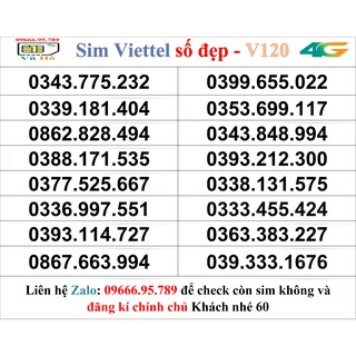Sim Viettel V120 đầu 09 số đẹp giá rẻ 60