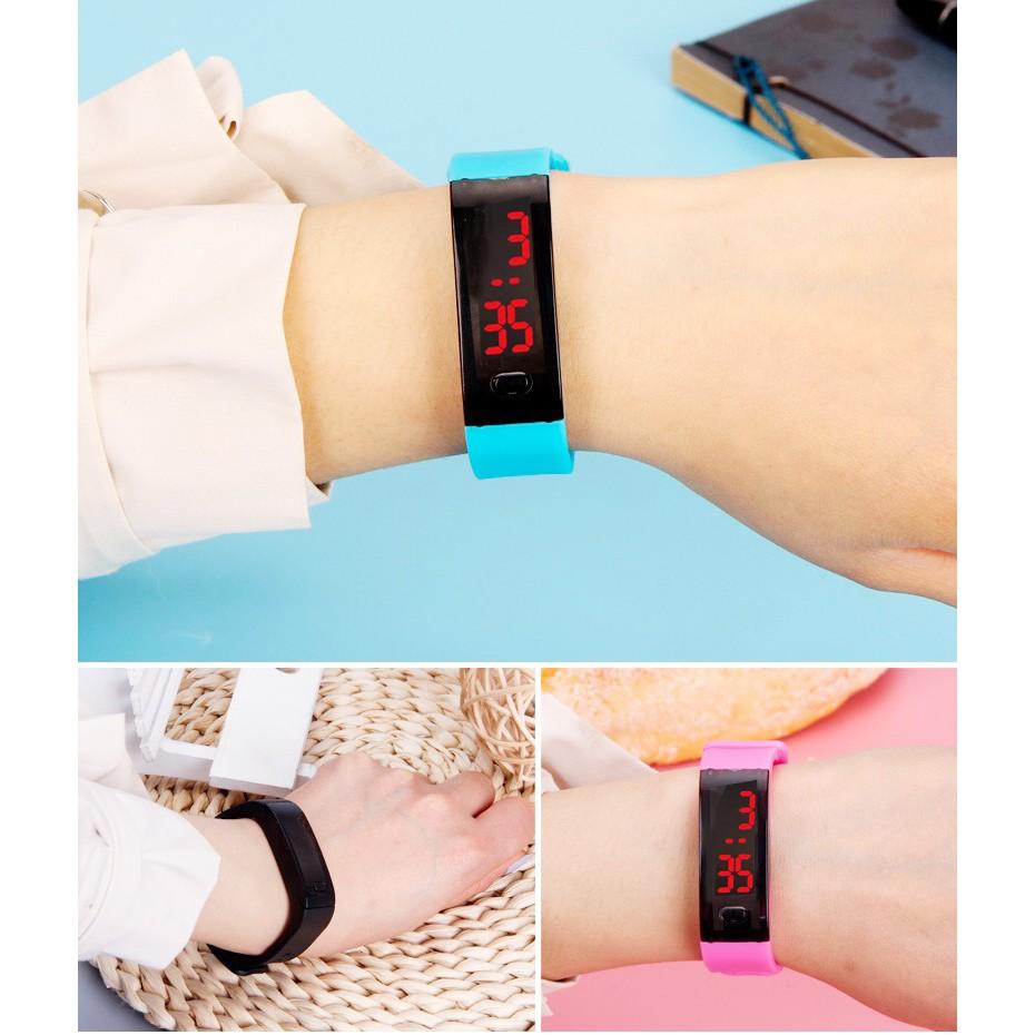 Đồng hồ unisex thể thao đèn led điện tử Ulzzang viền gợn sóng thời trang trẻ trung