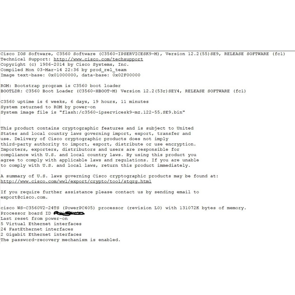Cisco layer 3 switch WS-C3560V2-24TS cao cấp