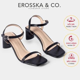 [Mã WABR44 giảm 15% đơn 300k] Gia y sandal cao go t Erosska mu i vuông phô i dây quai ma nh cao 5cm màu đen - EB025 thumbnail