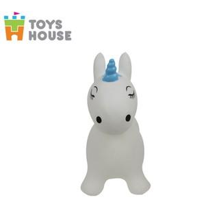 Thú nhún bơm hơi hình kỳ lân màu trắng Toys House - TH619-PA349