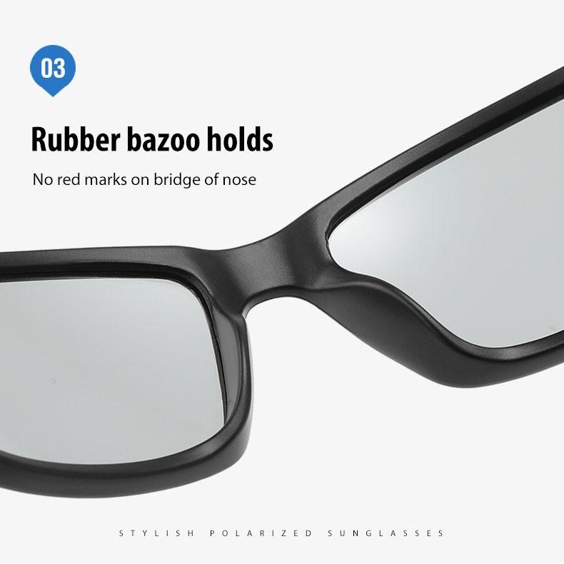Kính mát thể thao kiểu dáng ôm mặt tròng Polarized A5307 NVfashion - Gọng đen nhám