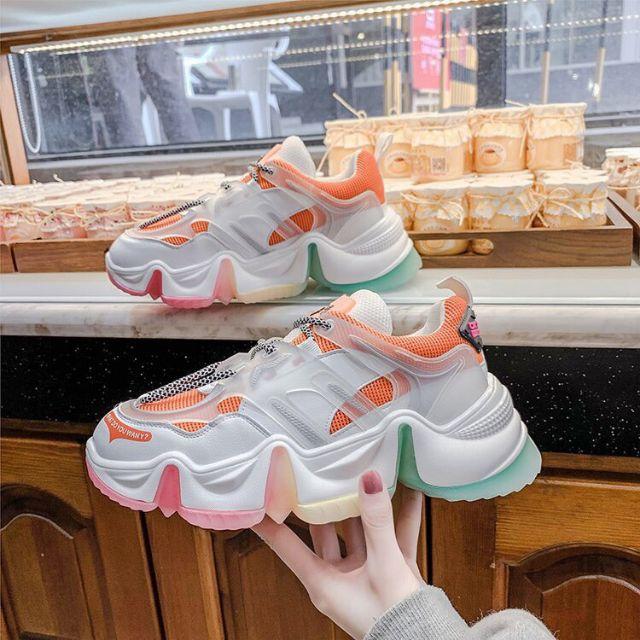 Giày Thể Thao Nữ Độn đế sắc màu kiểu Rèm 3 màu Siêu ĐẸP_freeeshippp
