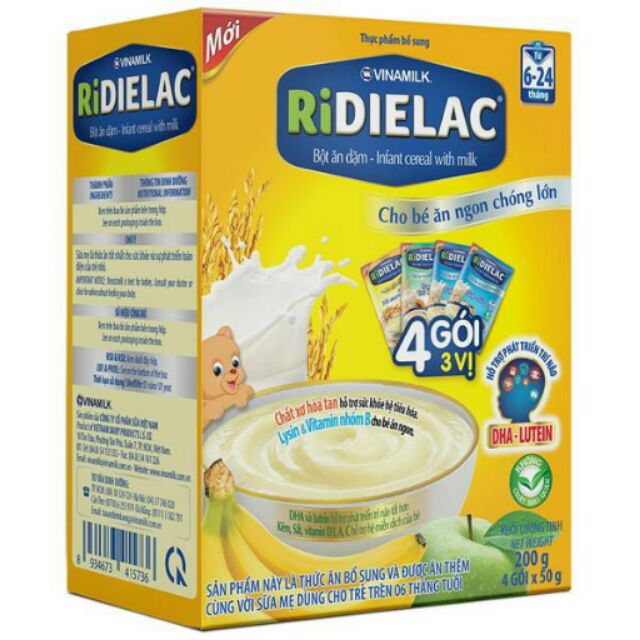 Bột ăn dặm Vinamilk RiDIELAC 4 gói 3 vị ngọt - Hộp 4 gói x 50g