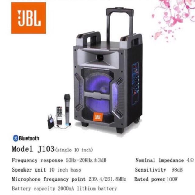 [Freeship toàn quốc từ 50k] Loa kéo di động JBL 103 Bass 25cm 2 mic không dây