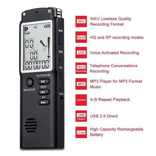 Máy ghi âm giọng nói T60 8GB 16GB chất lượng cao tiện dụng kèm phụ kiện