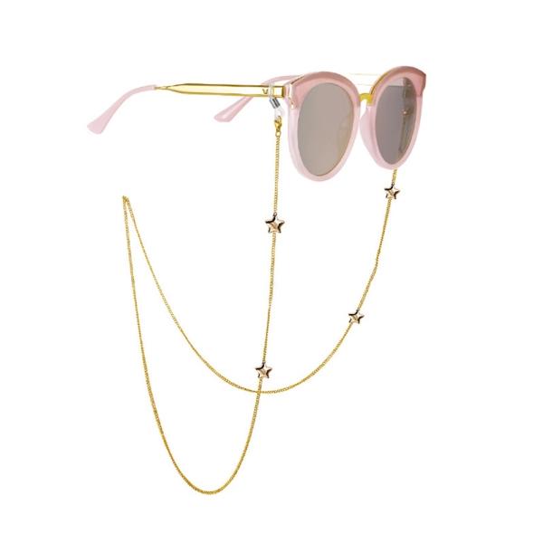 PopularFashion Star Shape Anti-slip Gold Color Eyeglasses Chain 72CM