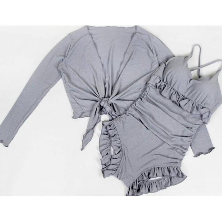Đồ bơi/ Bikini liền hàng nhập kèm áo khoác 2 màu ghi xanh/ đen
